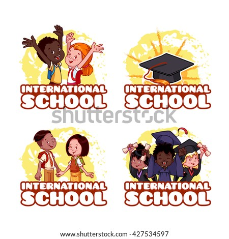 Four banner for the International School. Template logo. Vector Illustration isolated on a White Background. - stock vector