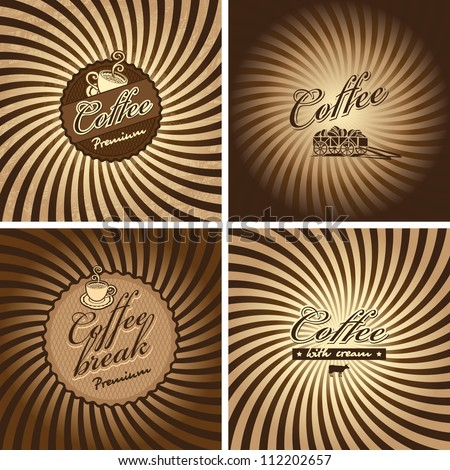 four banners for cafe in retro style - stock vector