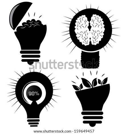 four black silhouettes of light bulbs with different elements inside them - stock vector