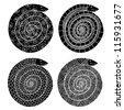 four black snakes - stock vector