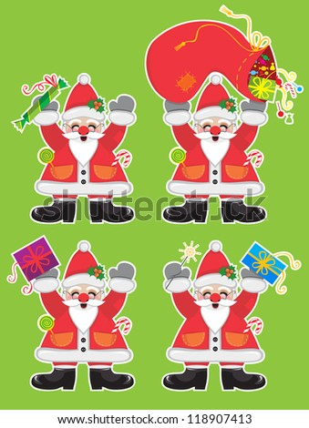 Four cheerful Santa Clauses with sweets and presents - stock vector