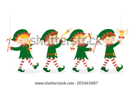 Four Christmas elves carrying a white banner for your design. - stock vector