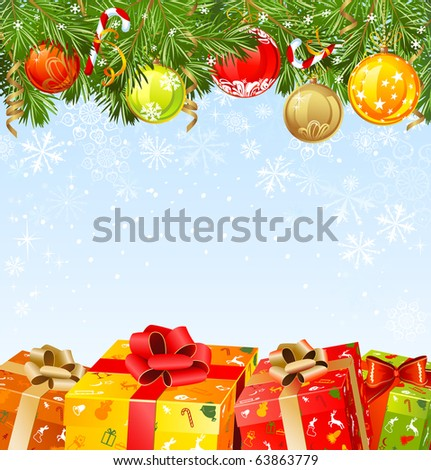 four  Christmas gifts under a fir-tree - stock vector