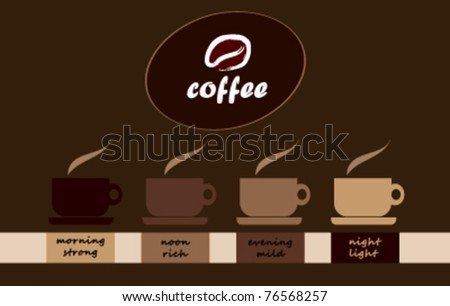 four coffee cups and coffee logo / design layout - stock vector