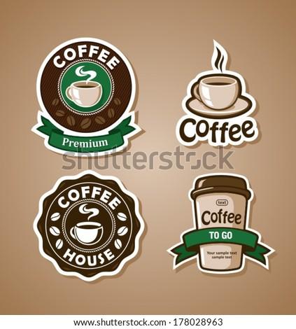 Four coffee design templates. Vector banners. - stock vector
