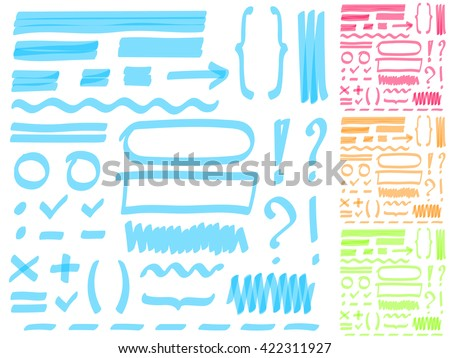 Four color highlighter marker's set. Hand drawing elements for select and edit text.  - stock vector