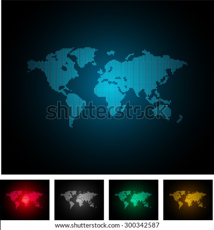 four color map of the world pixel background. vector illustration. dot. table. square. Mosaic. ingographics. background for computer graphic website internet and technology. dark gray background. - stock vector