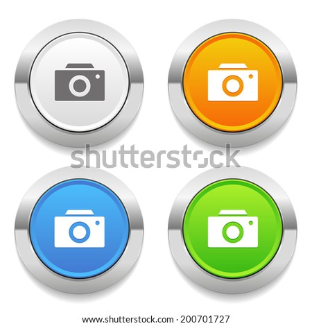 Four color round button with camera icon and metallic border - stock vector