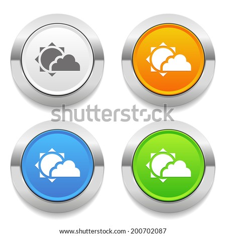 Four color round button with weather icon and metallic border - stock vector