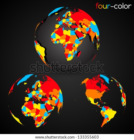 Four-Color World Map Set | EPS 10 Vector - stock vector