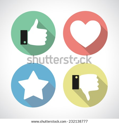 Four colorful flat icons with long shadow. Thumb up, thumb down, star and heart. Social media pictogram. Like and dislike, favorite item and customer's choice concept. - stock vector