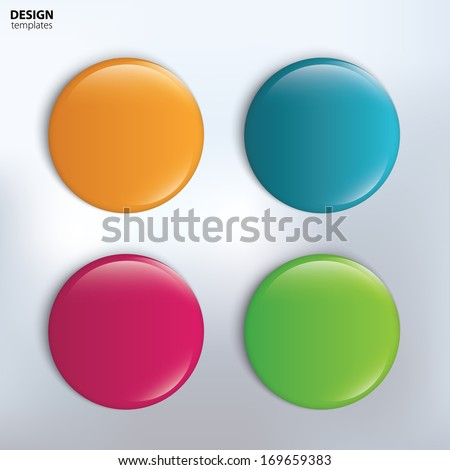 Four colorful glossy badge. vector - stock vector
