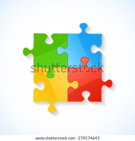 Four colorful puzzle elements on white background, illustration. - stock vector