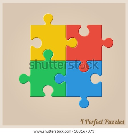 Four Colourful Puzzle Pieces. Vector eps 10. - stock vector