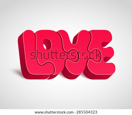 """Four combined together red puzzle-letters form a word """"LOVE"""". Harmony in love concept - stock vector"""