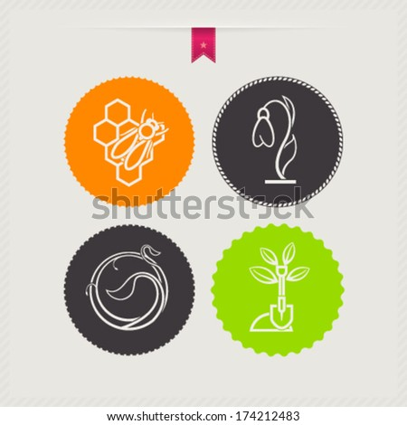 Four concept icons: spring, from left to right, top to bottom: Bee & honeycomb, Snowdrop flower, Growing plant, Shovel.  - stock vector