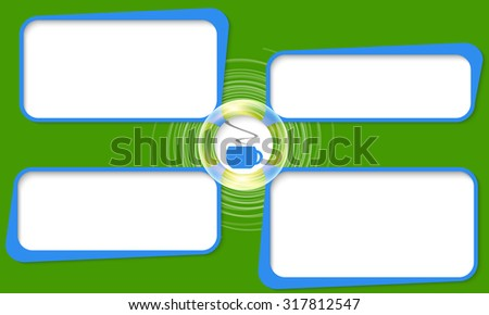 Four connected frames for your text and cup of coffee - stock vector