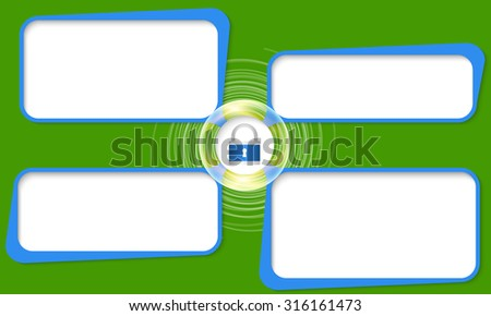 Four connected frames for your text and padlock - stock vector