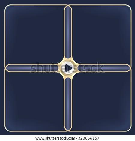 Four connected golden frames for your white text and play symbol - stock vector