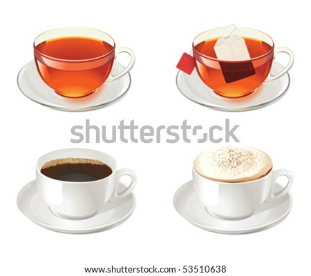 Four cups with tea, coffee and cappuccino - stock vector