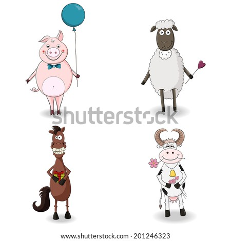 Four Cute Farm Animals. Congratulations. - stock vector