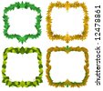 Four decorative vector borders featuring different leaves - stock vector