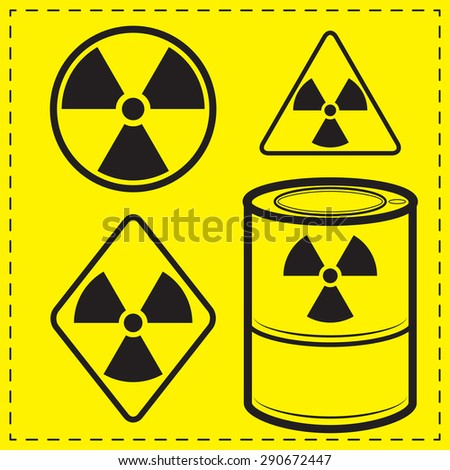 Four design variants radioactive danger sign. - stock vector