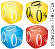 Four dices with 0 percent on side different colored, glossy loan icons, yellow, blue and red, vector illustration - stock vector