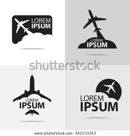 four different airplane logo design - stock vector