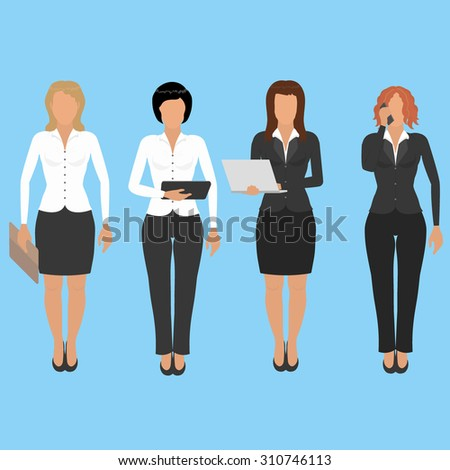 Four different business woman - stock vector