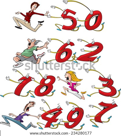 Four different cartoon characters running from, or chasing their birthday age. (Example: first row shows woman running from 50). Build your own birthday card. Layered Vector file available. - stock vector