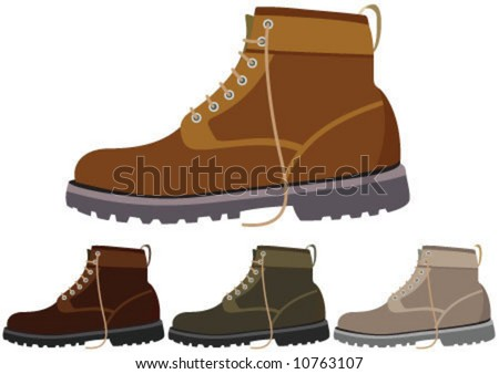 Four different color winter boot - stock vector