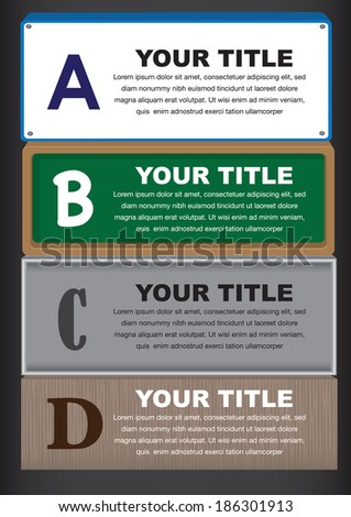 Four different designs for placards and notice board with copy space. Vector illustration. - stock vector