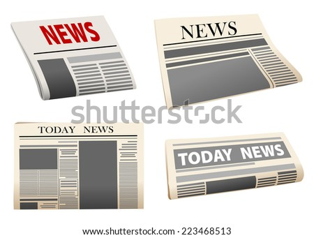 Four different folded newspaper icons with print mock-up headed News or Todays News, isolated on white - stock vector