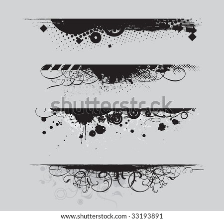 four different Grunge banners with place for your text. - stock vector