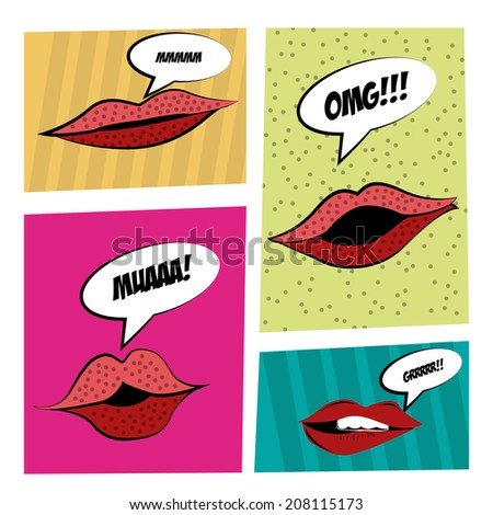 four different lips expressions in four different backgrounds - stock vector