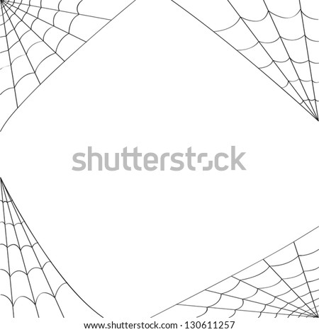 Four different spider webs designed to fit in the corners of pages. Use as is for a spider web border. - stock vector