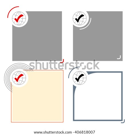 Four different text frames for your text and check box - stock vector