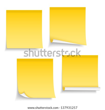 Four different yellow sticky notes on white background, vector eps10 illustration - stock vector