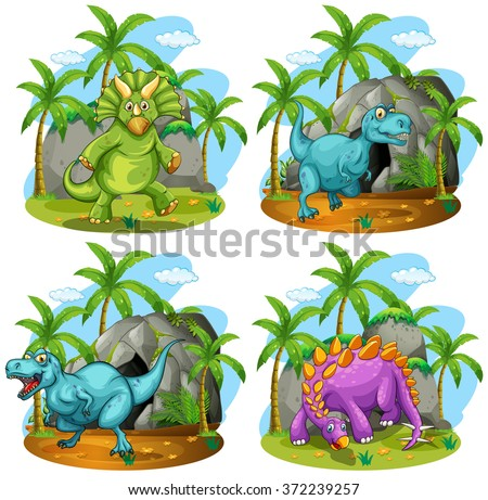 Four dinosaurs standing in the field illustration - stock vector