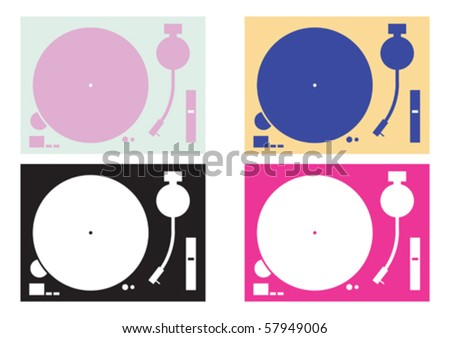 four dj record-player vector four  in colour combination - stock vector