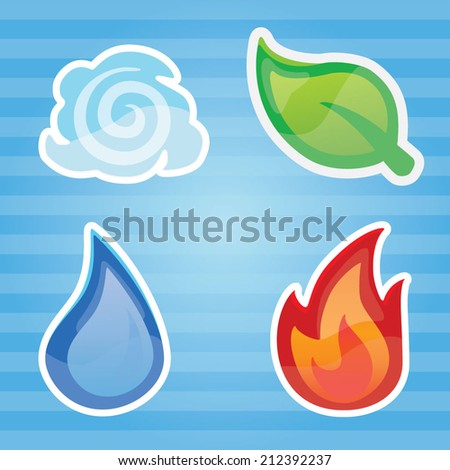 Four Element- Fire Water Tree Wind - stock vector