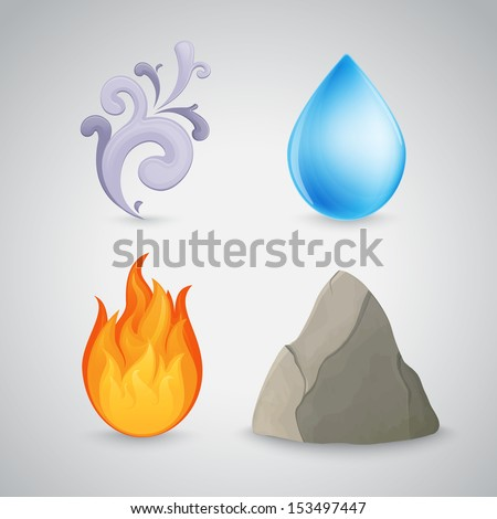 Four element icons - earth, air, fire and water. Highly detailed. Contains gradient mesh - stock vector
