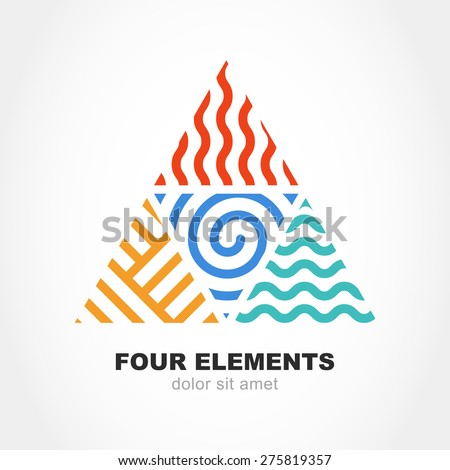 Four elements simple line symbol in pyramid shape. Vector logo design template. Abstract concept for nature energy, synergy, tourism, travel, business. Fire, air, water and earth sign.  - stock vector