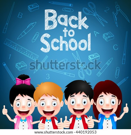 Four Enjoy Cute Student Characters Wearing School Bag on Blue Background. Vector Illustration  - stock vector