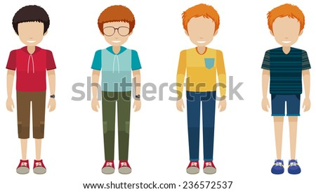 Four faceless boys on a white background  - stock vector