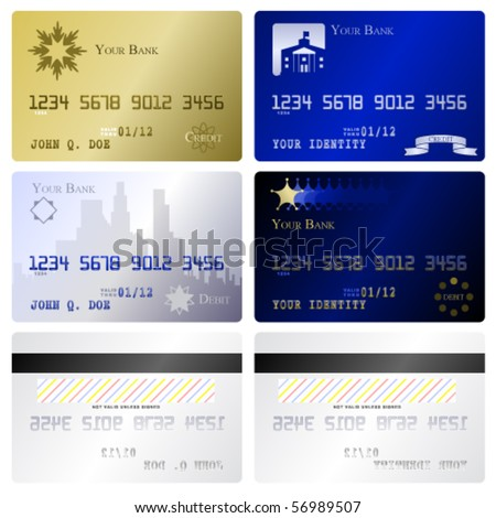 Four fake credit card fronts and two matching back sides - stock vector