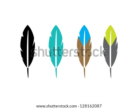 Four Feather Icons. - stock vector
