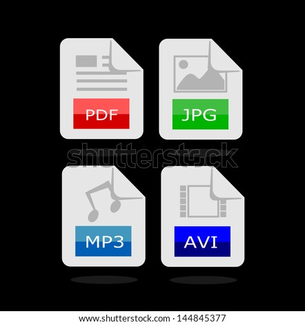 Four file types icons - pdf, jpg, mp3 and avi vector - stock vector