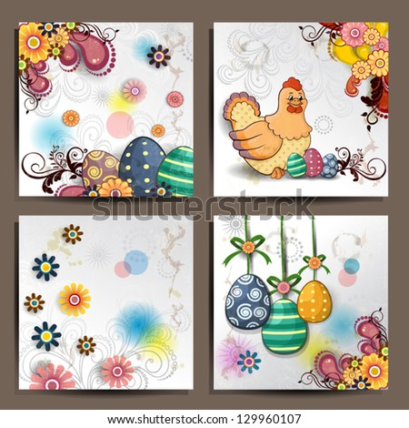 Four floral banners decorated with Easter eggs and hens on several levels-transparency blending effects and gradient mesh-EPS 10 - stock vector
